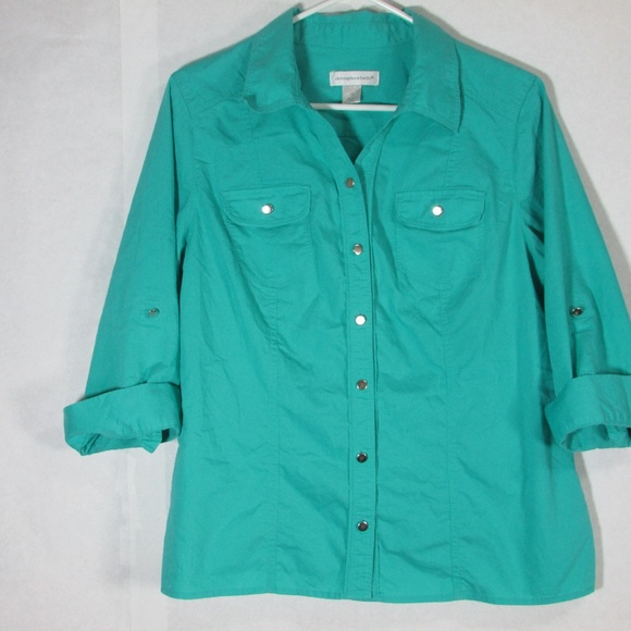 Christopher & Banks Tops - Women's Teal 3/4 Sleeve Button Christopher Banks m